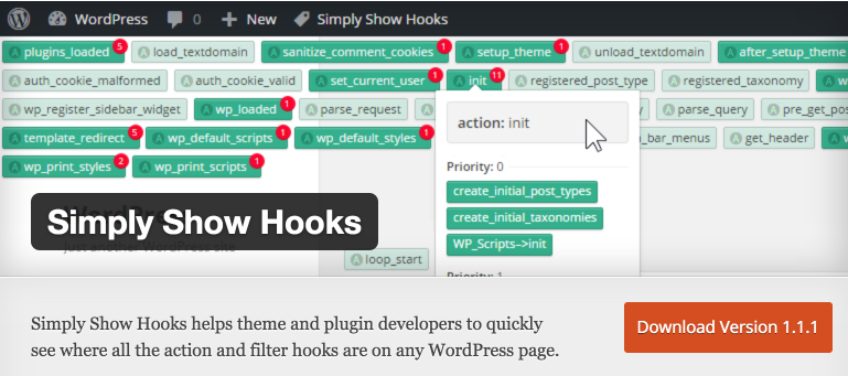 Simply Show Hooks plugin header